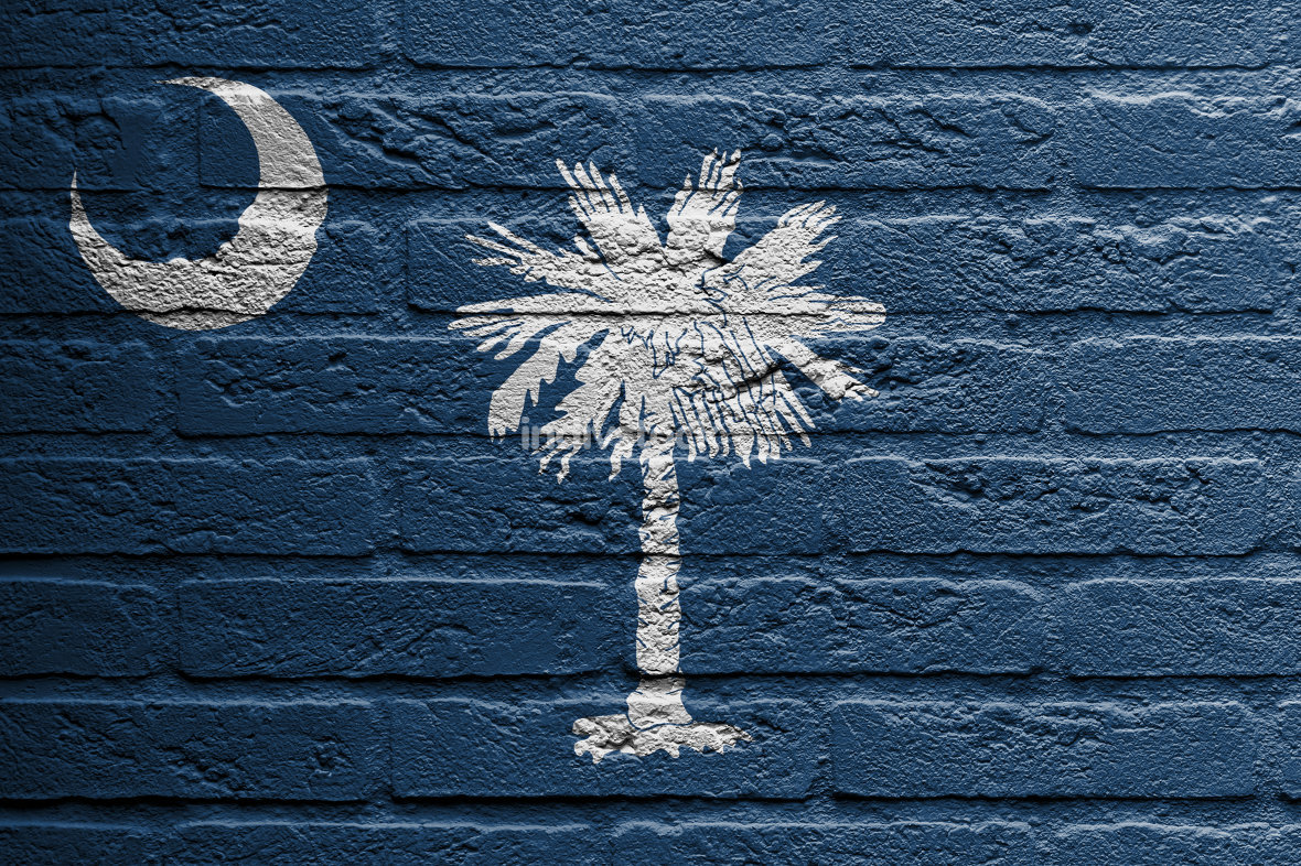 Brick wall with a painting of a flag, South Carolina