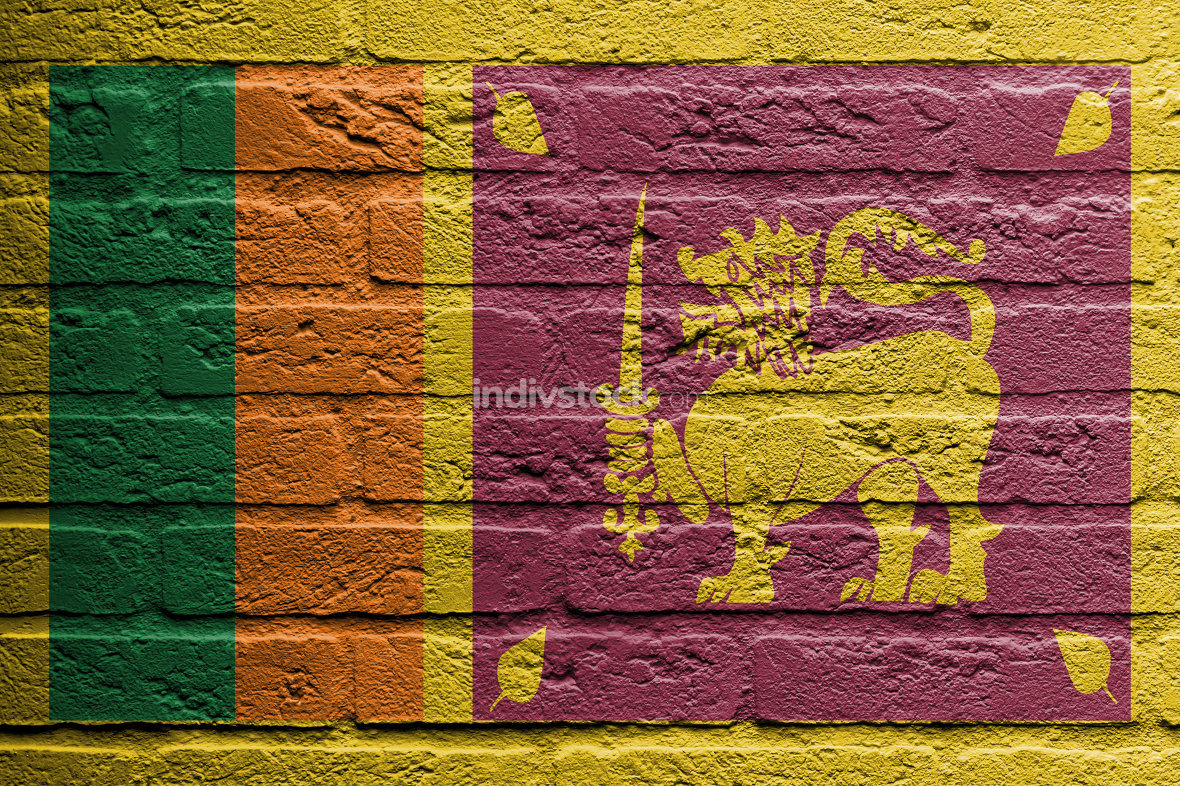 Brick wall with a painting of a flag, Sri Lanka