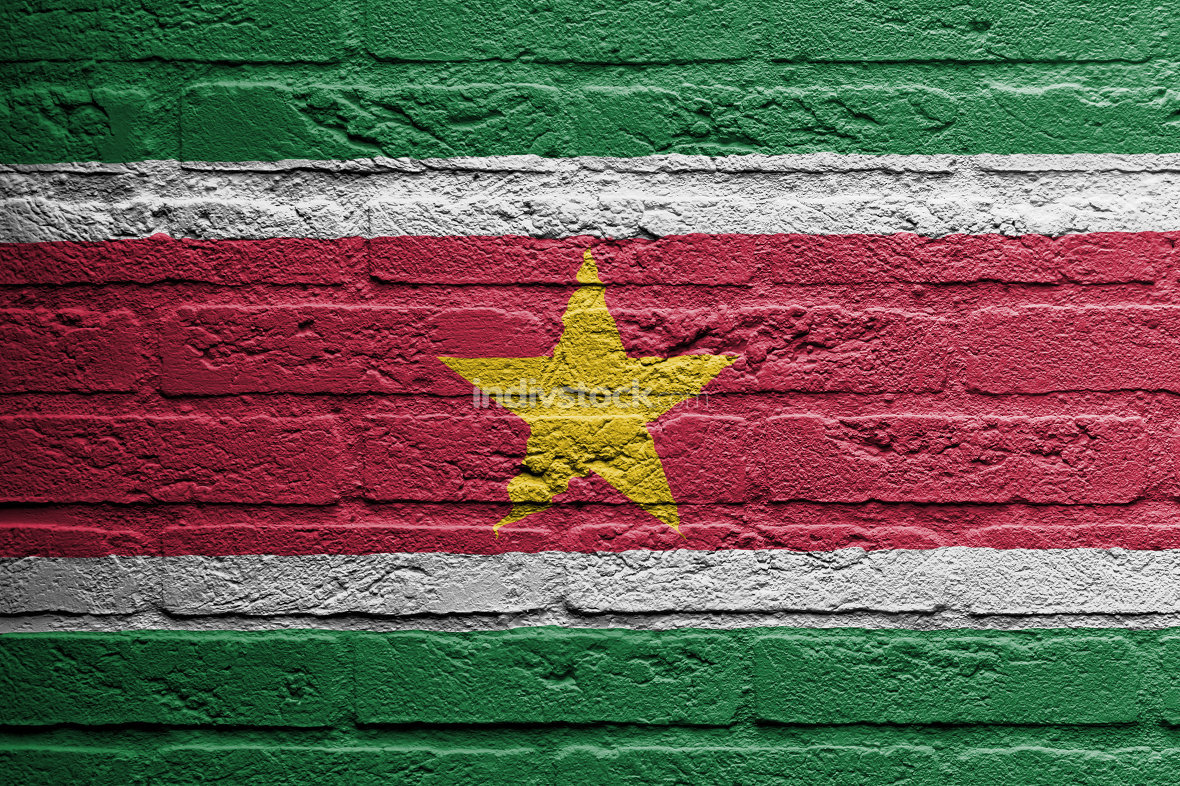 Brick wall with a painting of a flag, Suriname