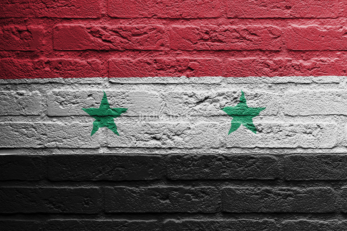 Brick wall with a painting of a flag, Syria