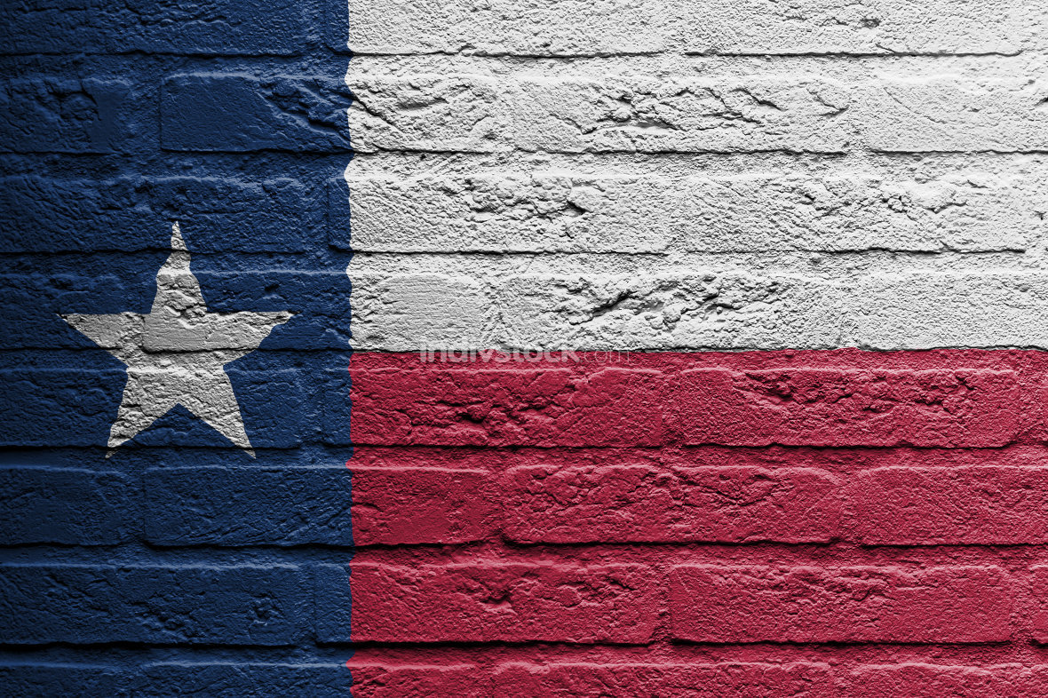 Brick wall with a painting of a flag, Texas