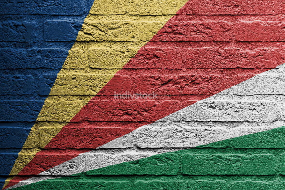 Brick wall with a painting of a flag, The Seychelles