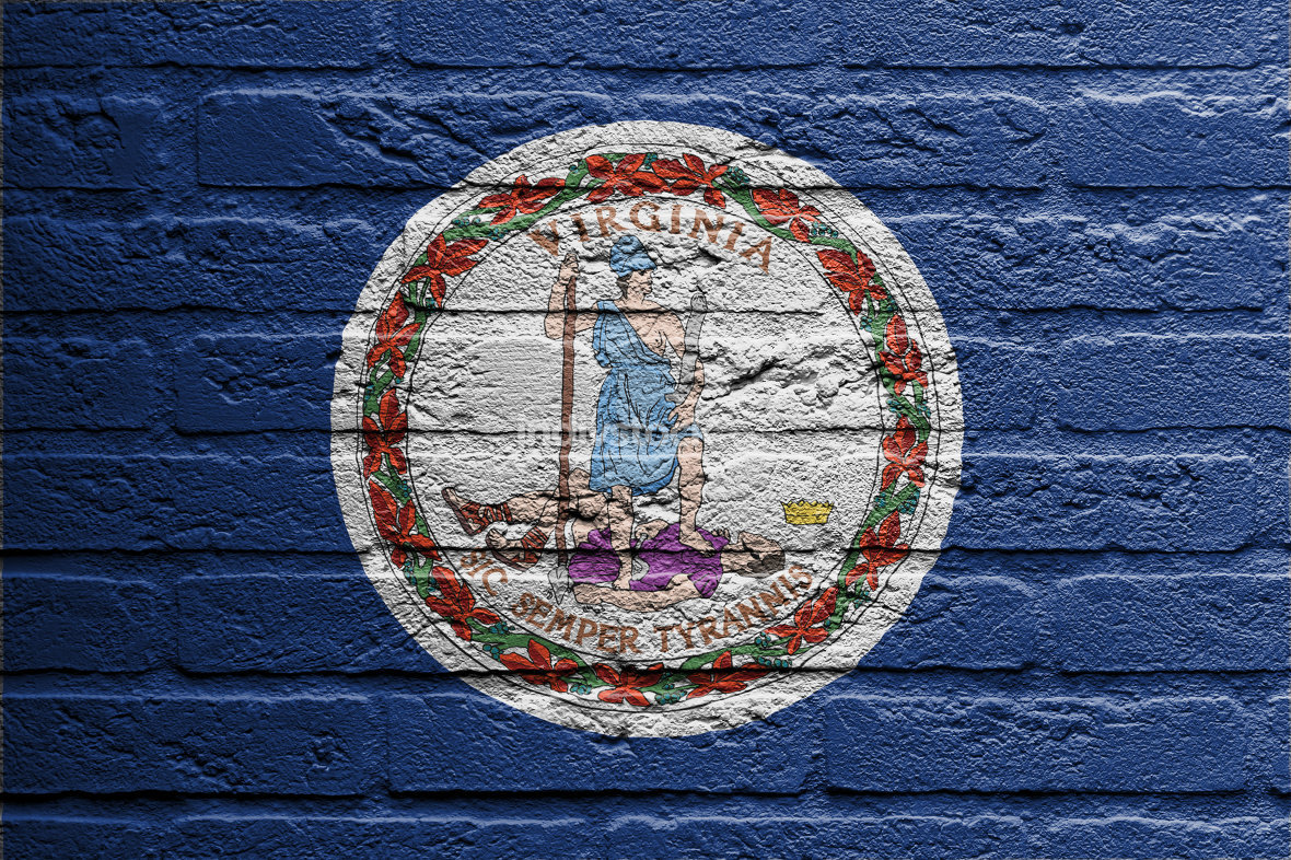 Brick wall with a painting of a flag, Virginia