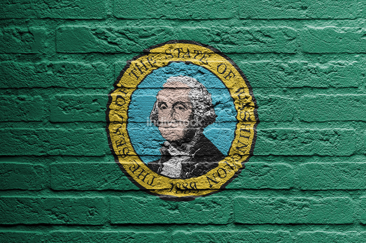 Brick wall with a painting of a flag, Washington