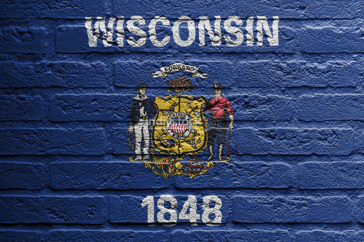 Brick wall with a painting of a flag, Wisconsin