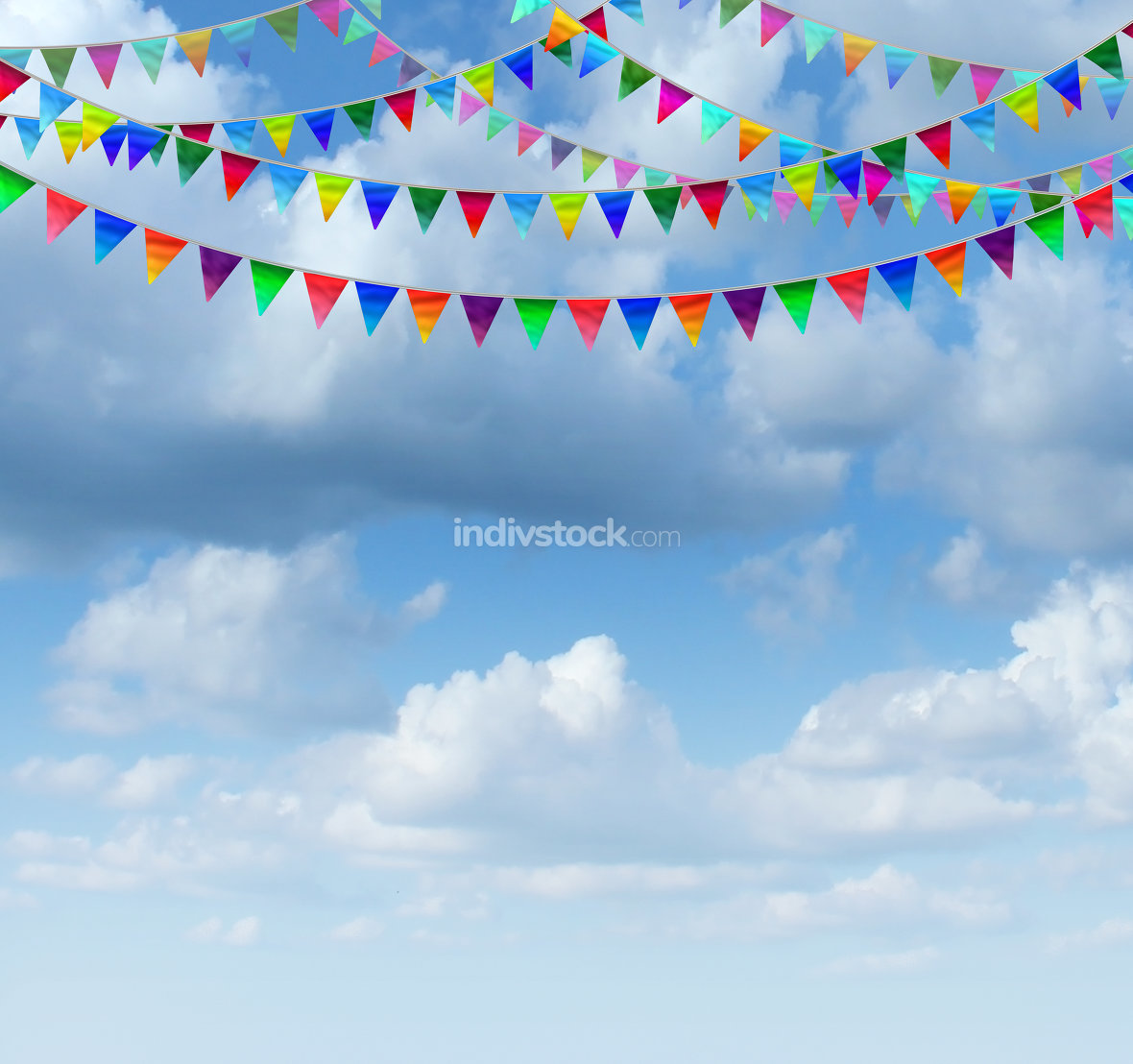 Bunting Flags On A sky