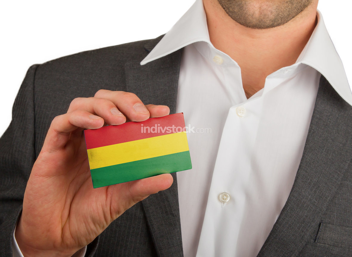 Businessman is holding a business card, Bolivia