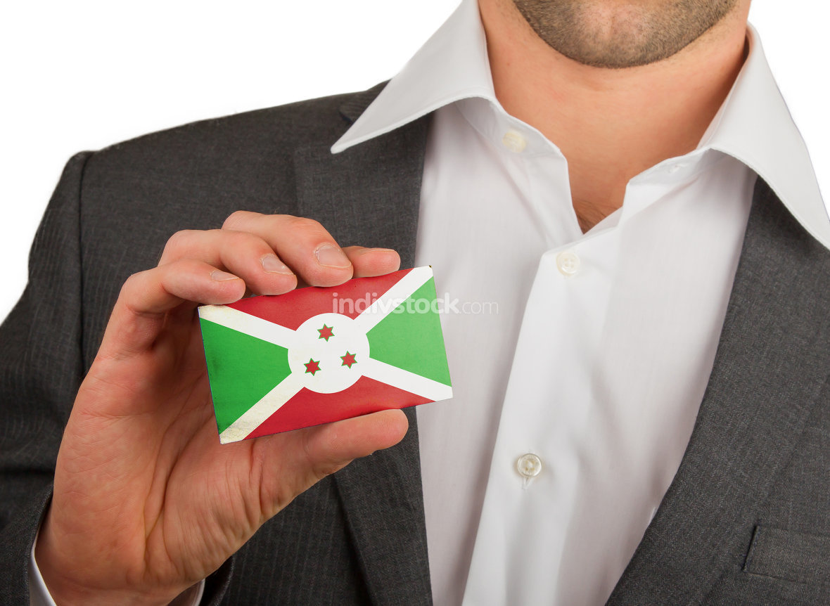 Businessman is holding a business card, Burundi