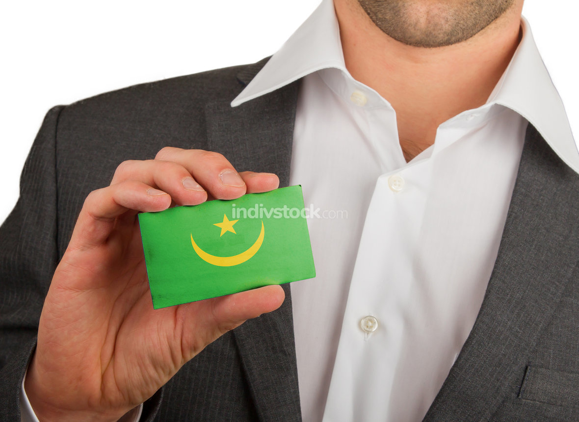 Businessman is holding a business card, Mauritania