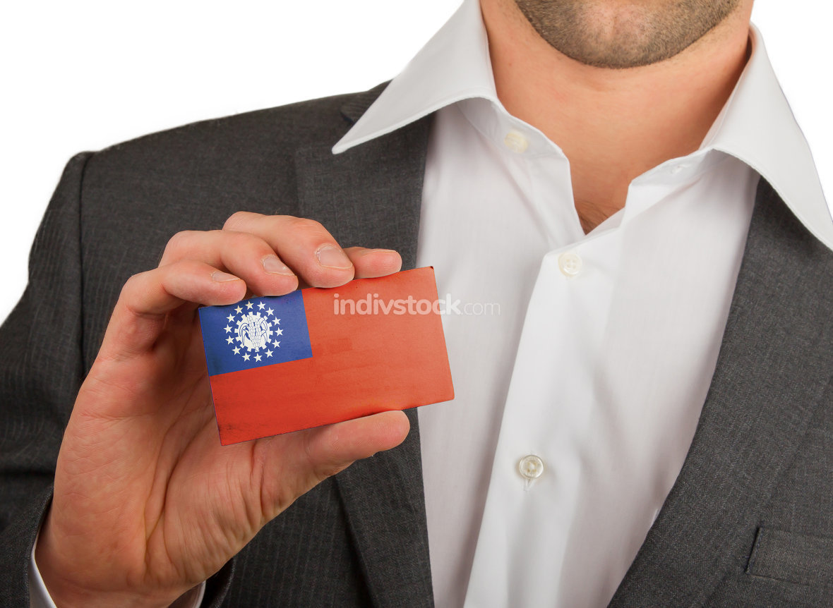 Businessman is holding a business card, Myanmar