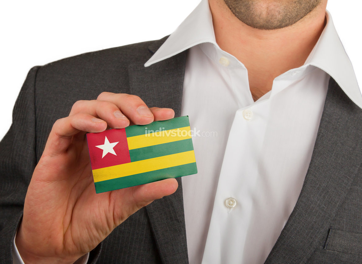 Businessman is holding a business card, Togo