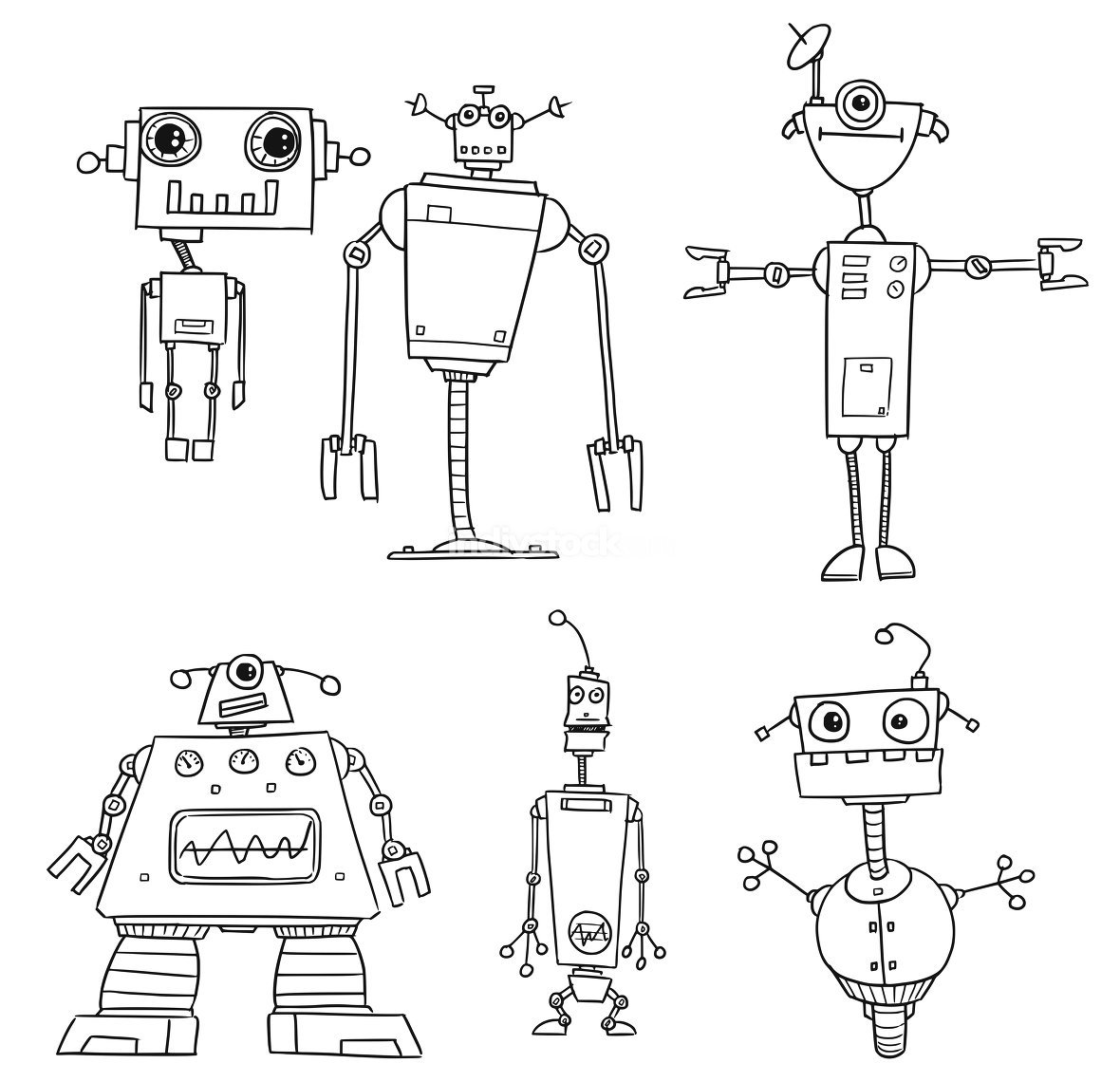 Cartoon Vector Robot Set03