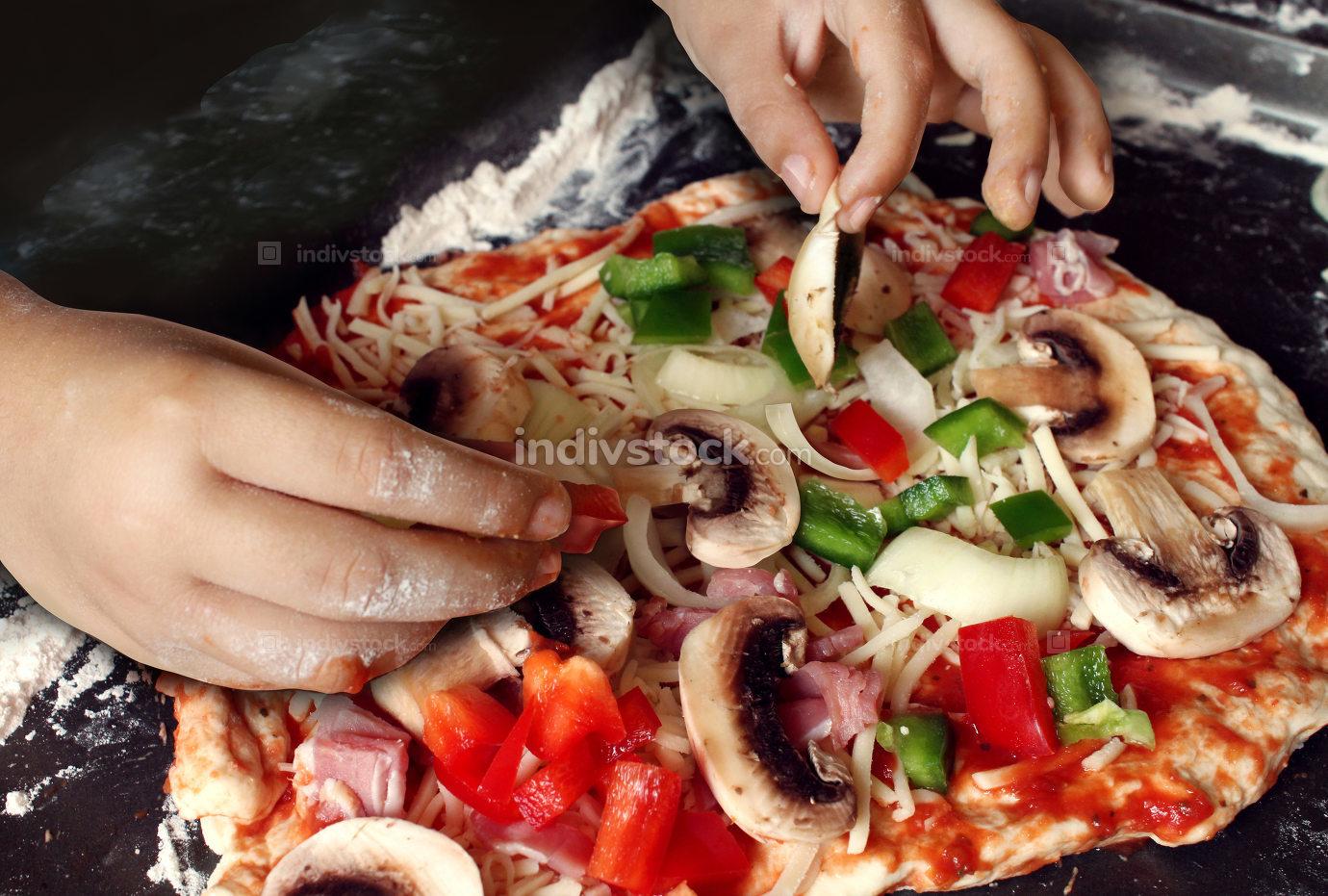 Child Preparing Pizza