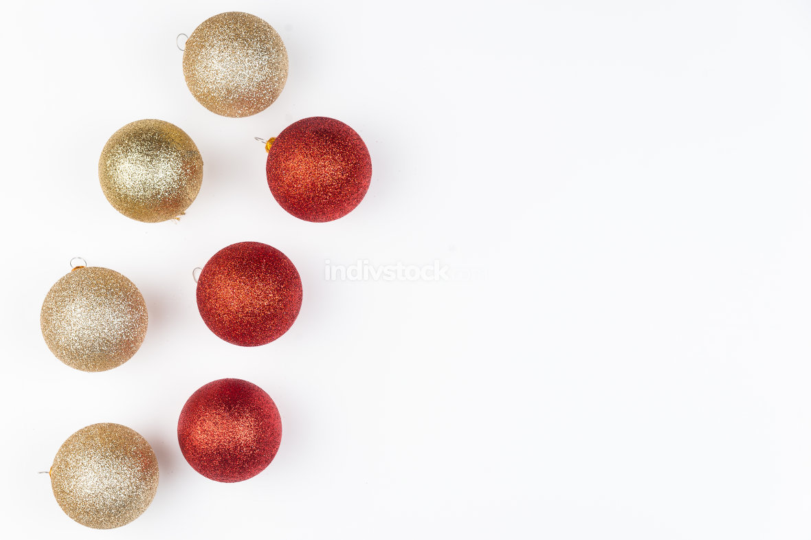Christmas balls isolated on white background. Top view with copy
