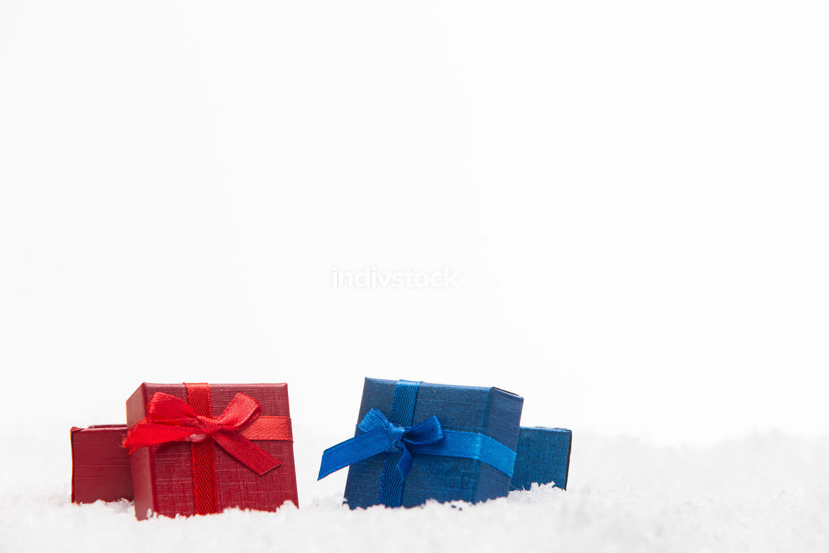 Christmas gifts with snow