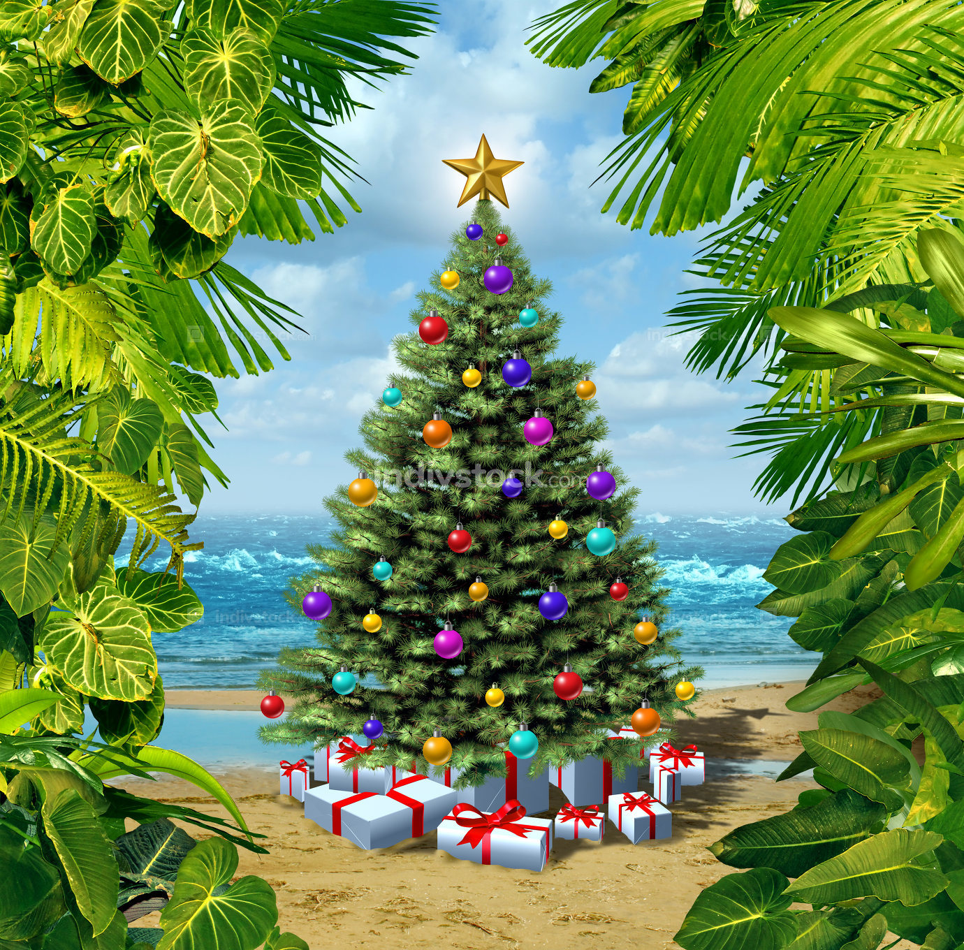 Christmas Tree Beach Celebration