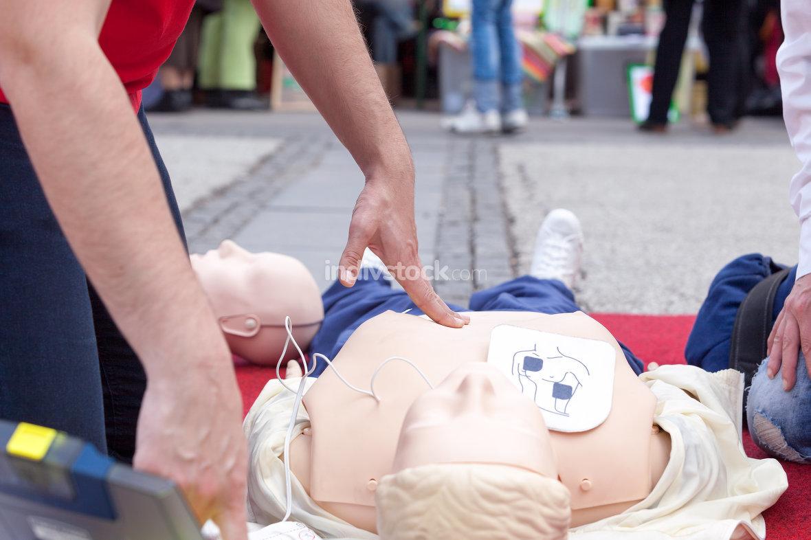Defibrillation training. First aid. CPR.