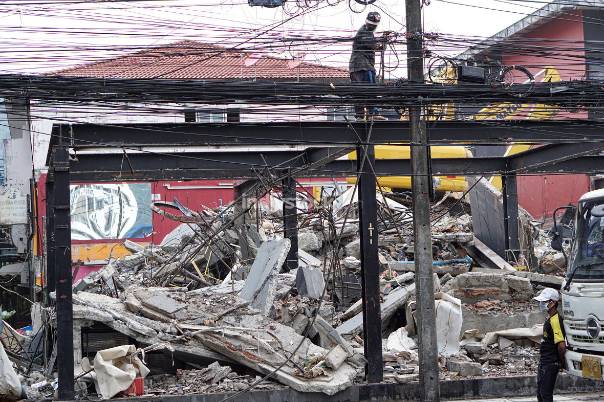 demolished building in the middle of Bangla Road in Patong Phuke