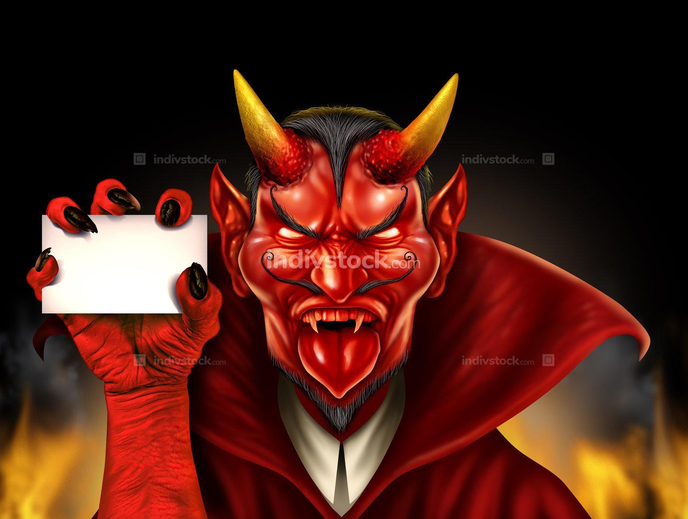 Devil Holding Sign
