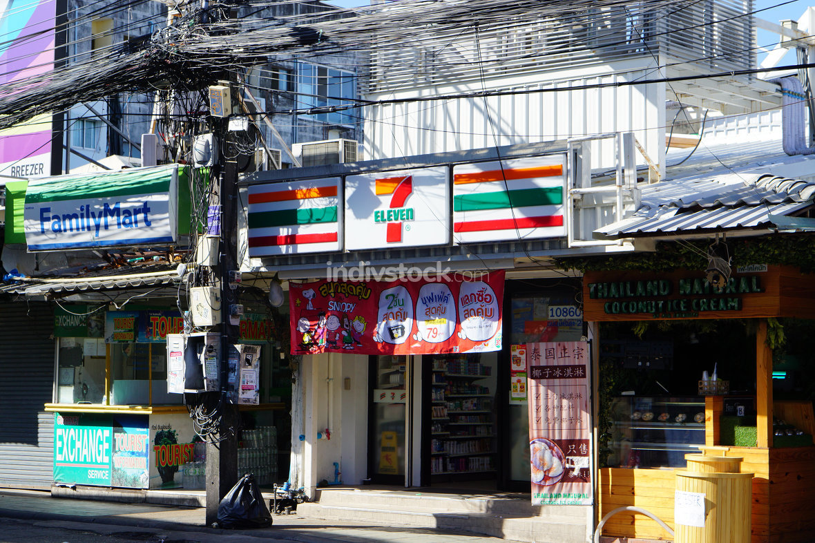 editorial illustrative 7 Eleven store in Patong Phuket in Thaila