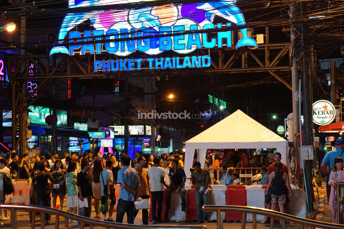 editorial illustrative entrance of Bangla Road in Patong Thailan