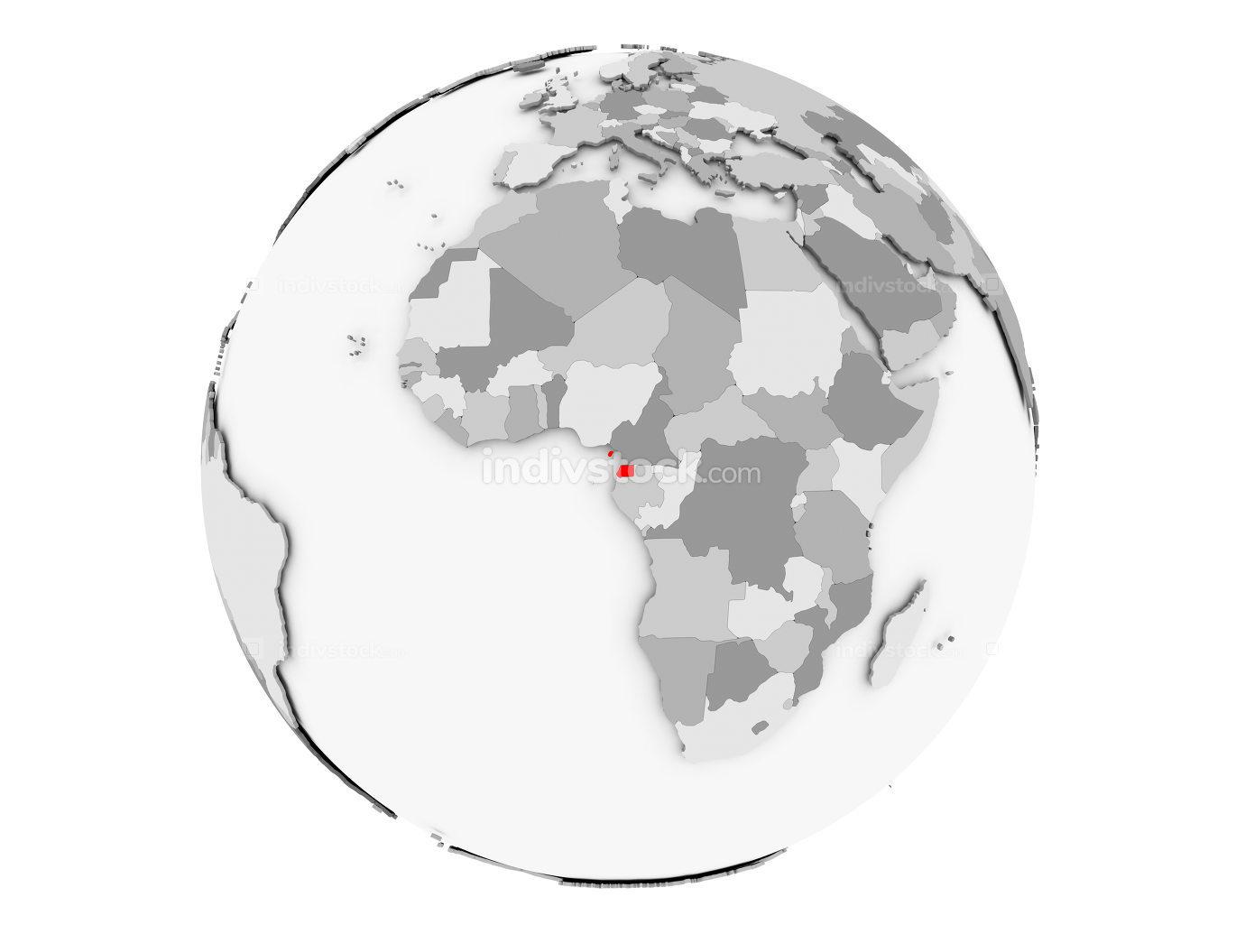 Equatorial Guinea on grey globe isolated