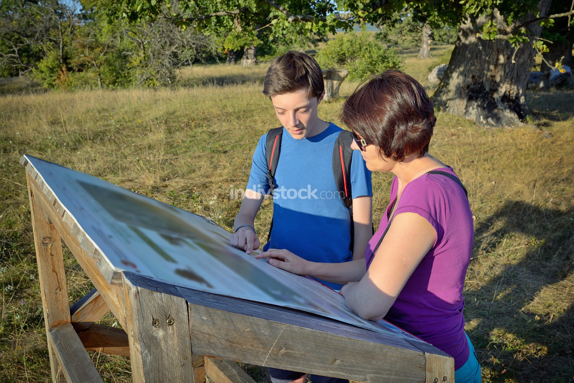 Family looking at signboard