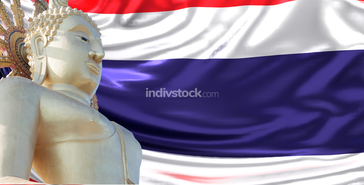 Flag 3d rendering of Thailand with Big Buddha Statue of Koh Samu