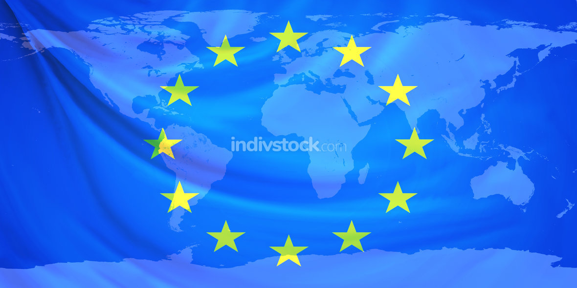 flag europe world map 3d rendering. Elements of this image furnished by NASA