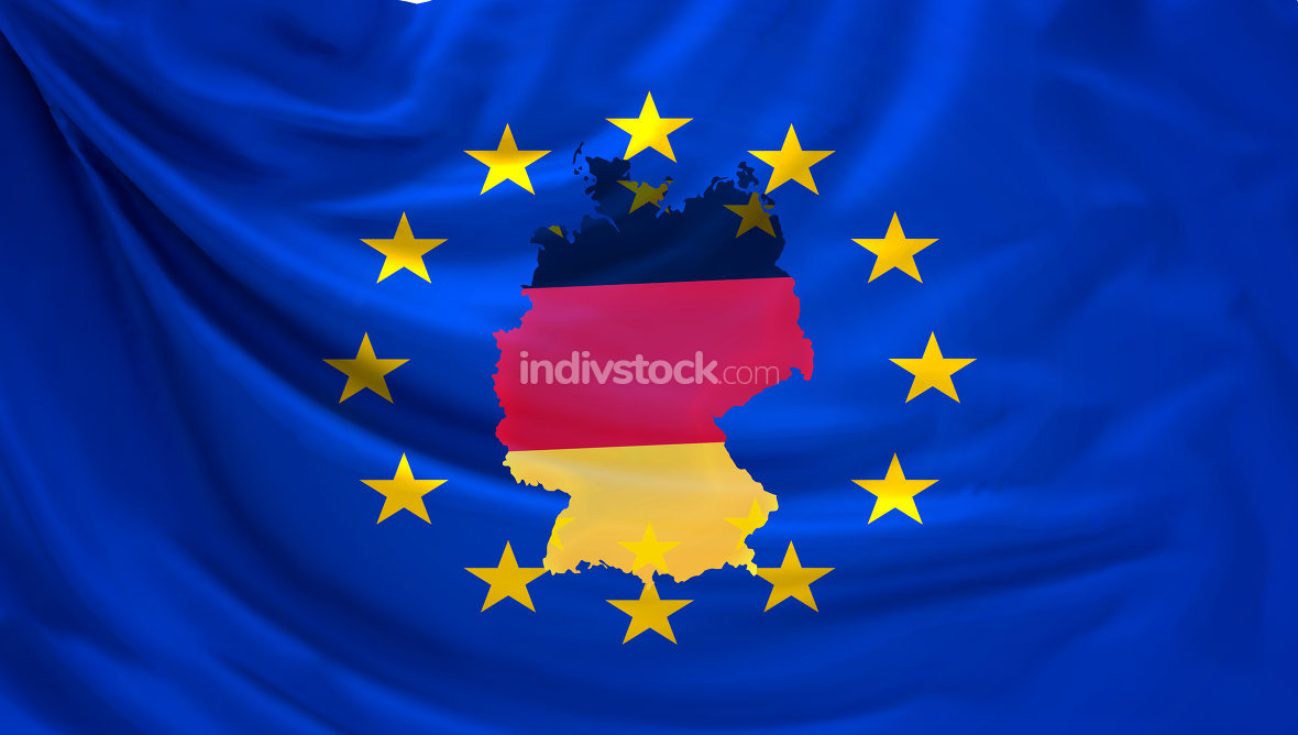 flag of europe and outline map of germany 3d rendering