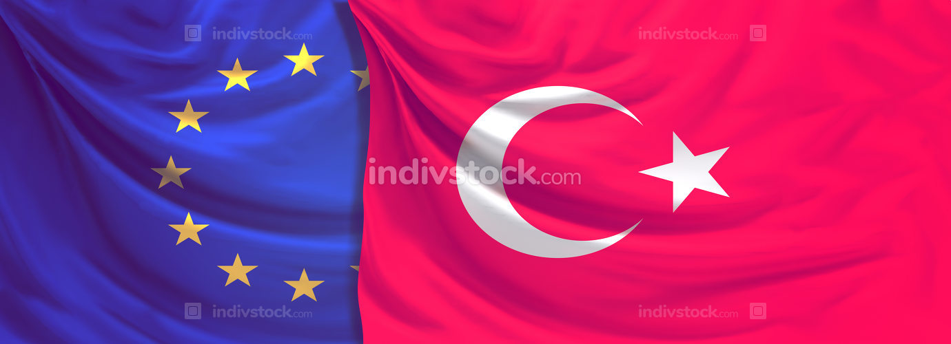 flag of Europe and turkey 3d rendering