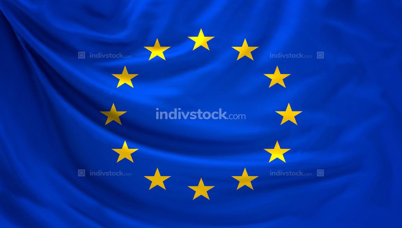 Flag of Europe. european 3d rendering banner background