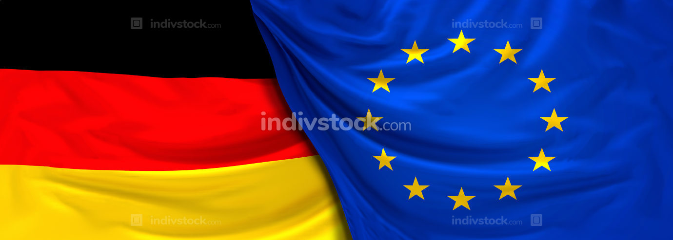 Flag of Germany and Eu 3d rendering
