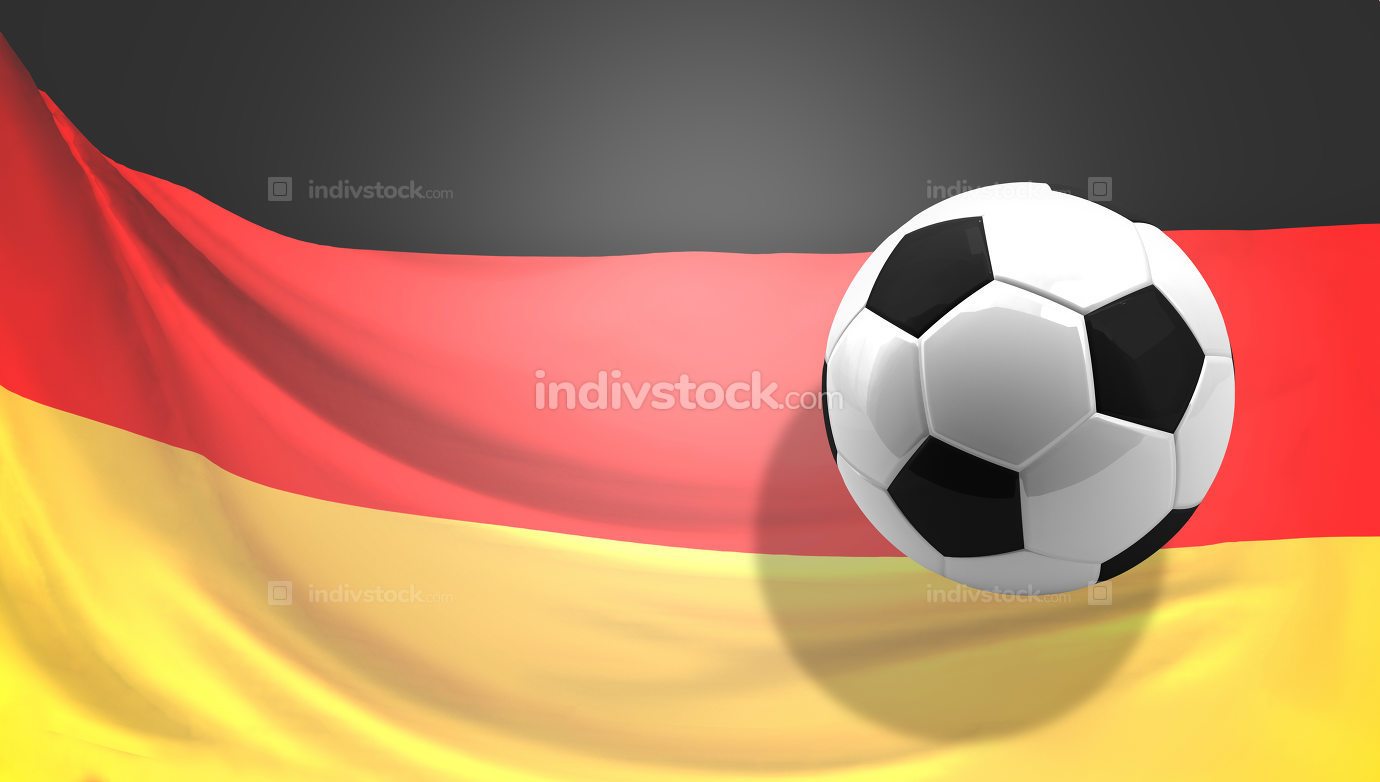 flag of Germany background 3d rendering football ball