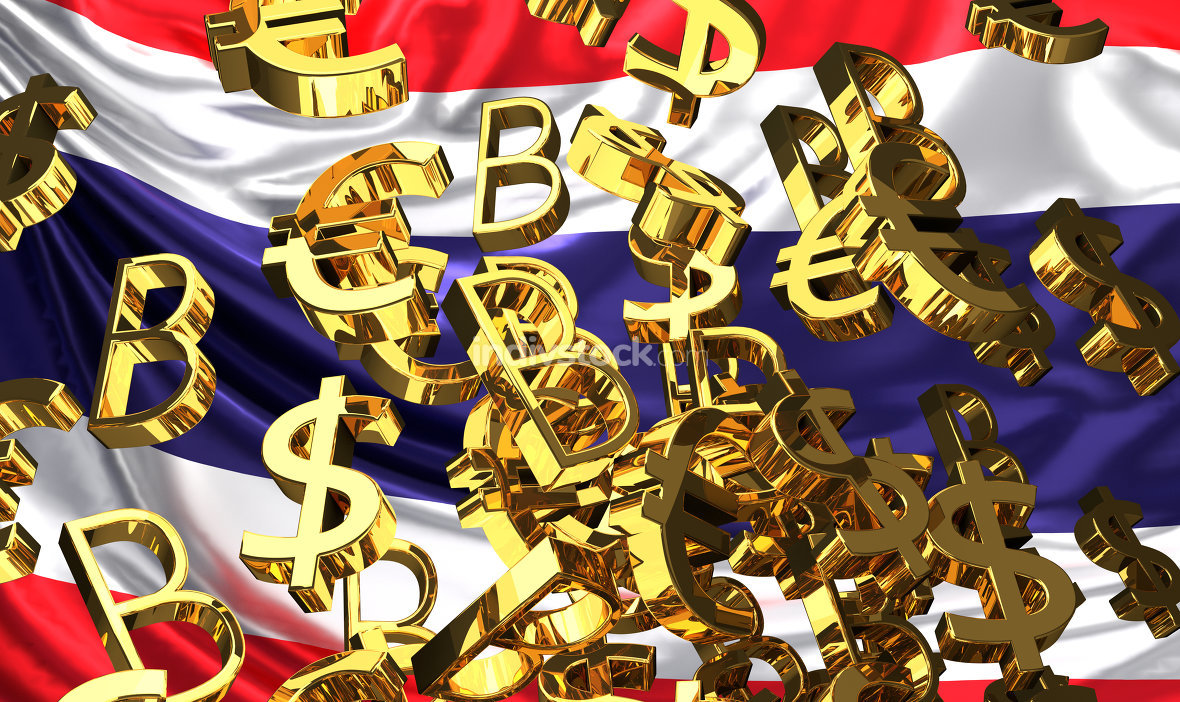 flag of thailand with golden dollar bitcoin euro 3d rendering