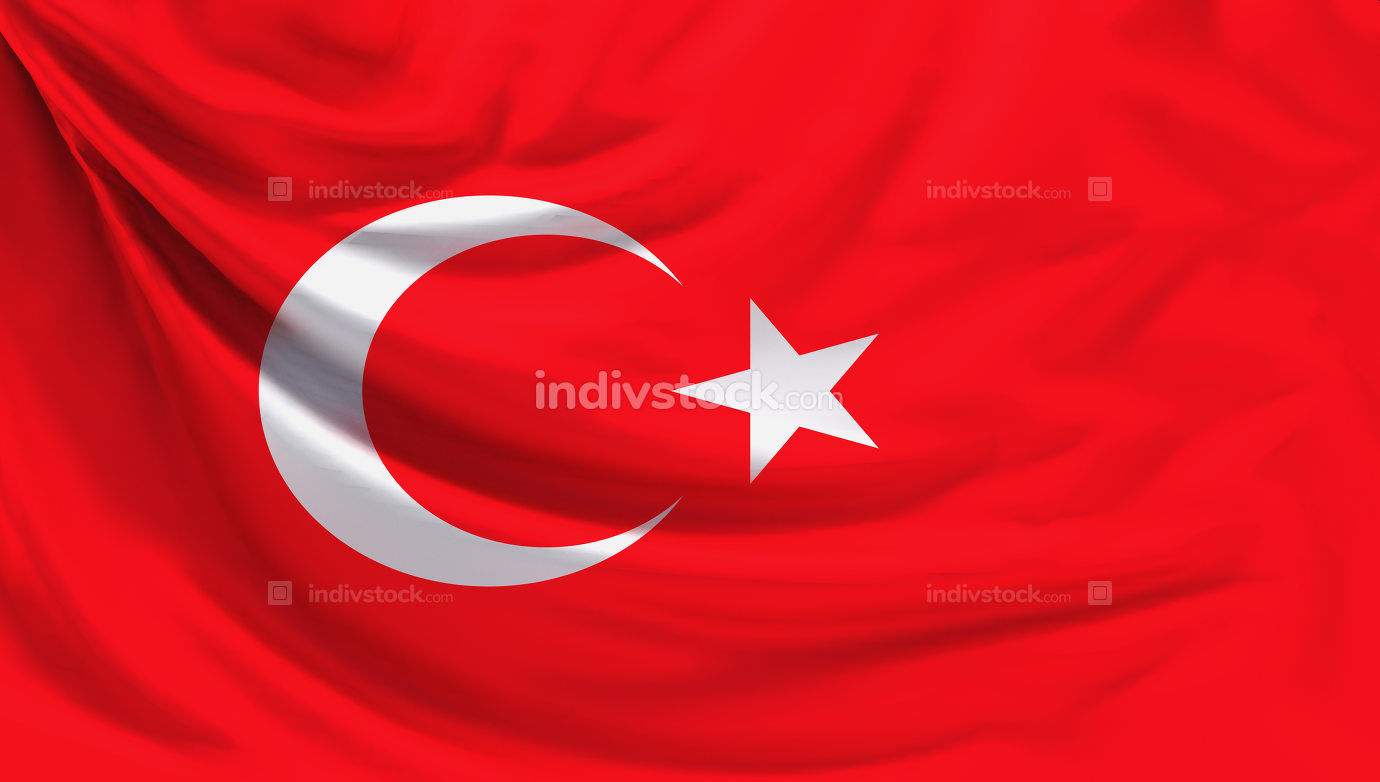 flag of Turkey 3d rendering background