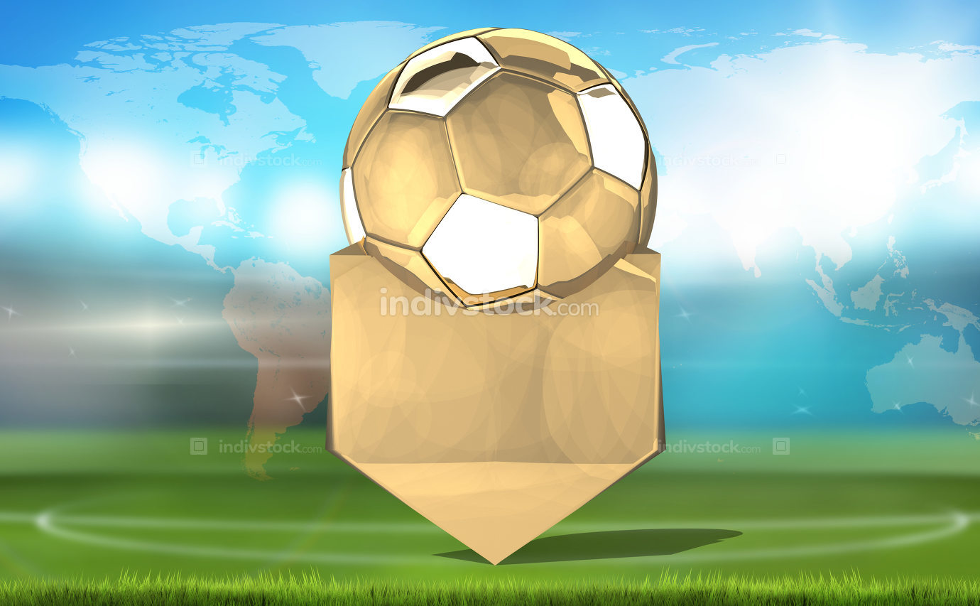 football soccer golden. 3d rendering. Elements of this image fur