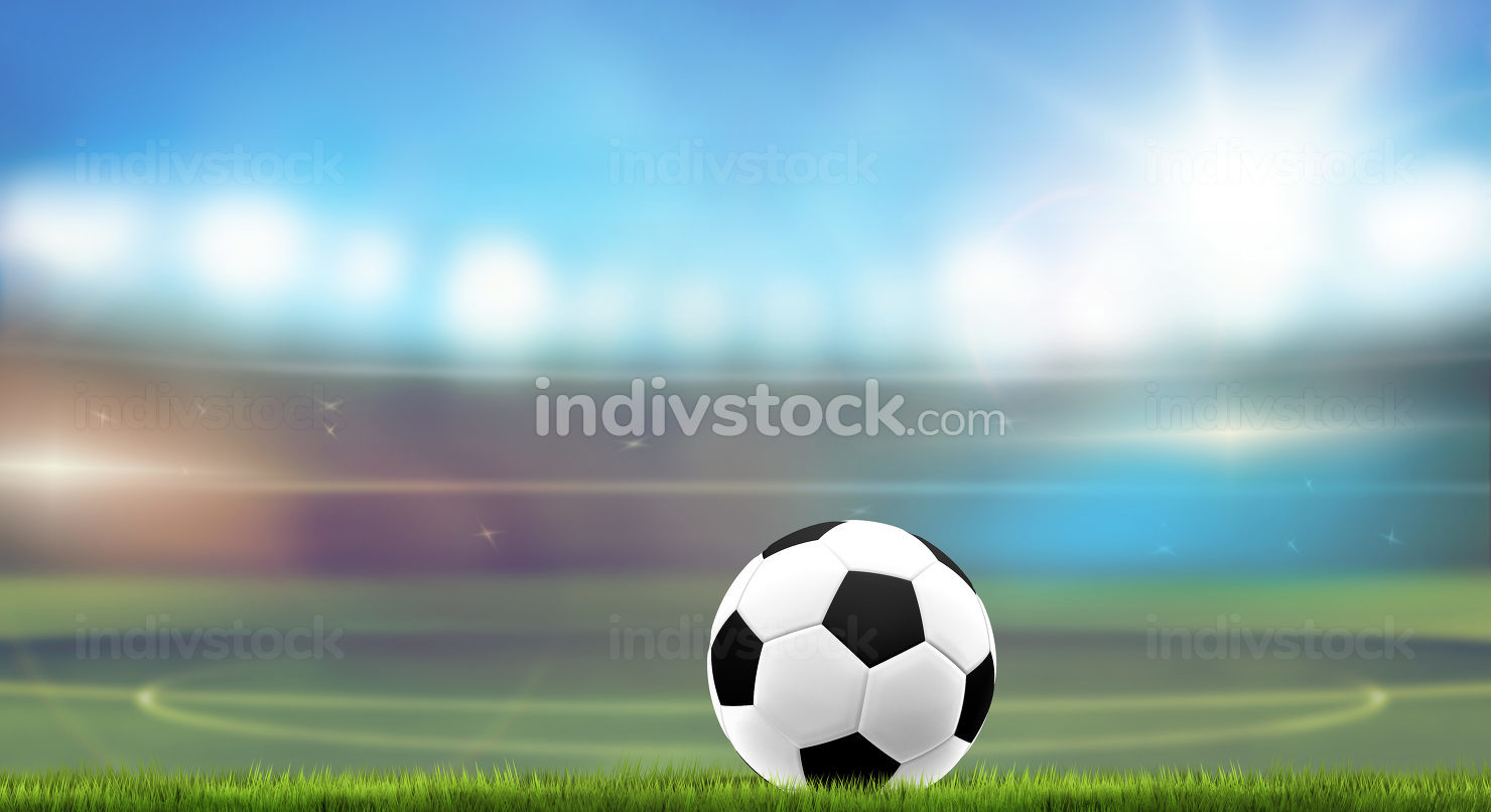 football stadium blurred background with ball and grass 3d rende