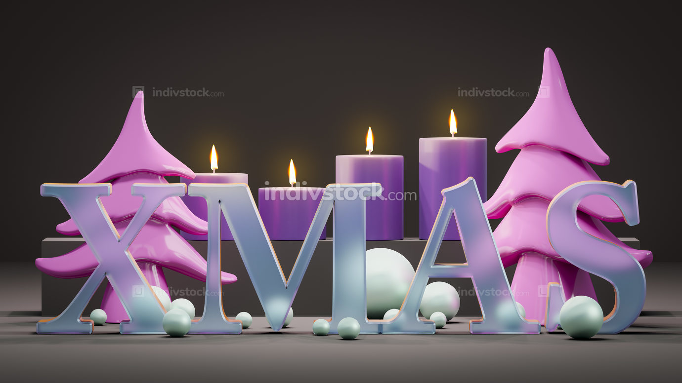 four candles for christmas time 3d illustration