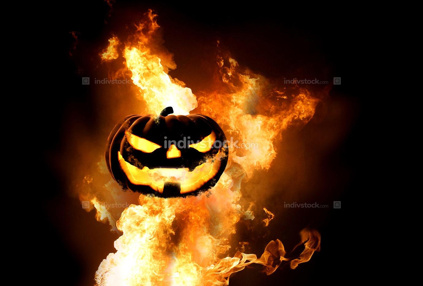 free download: Halloween pumpkin fire flames 3d rendering