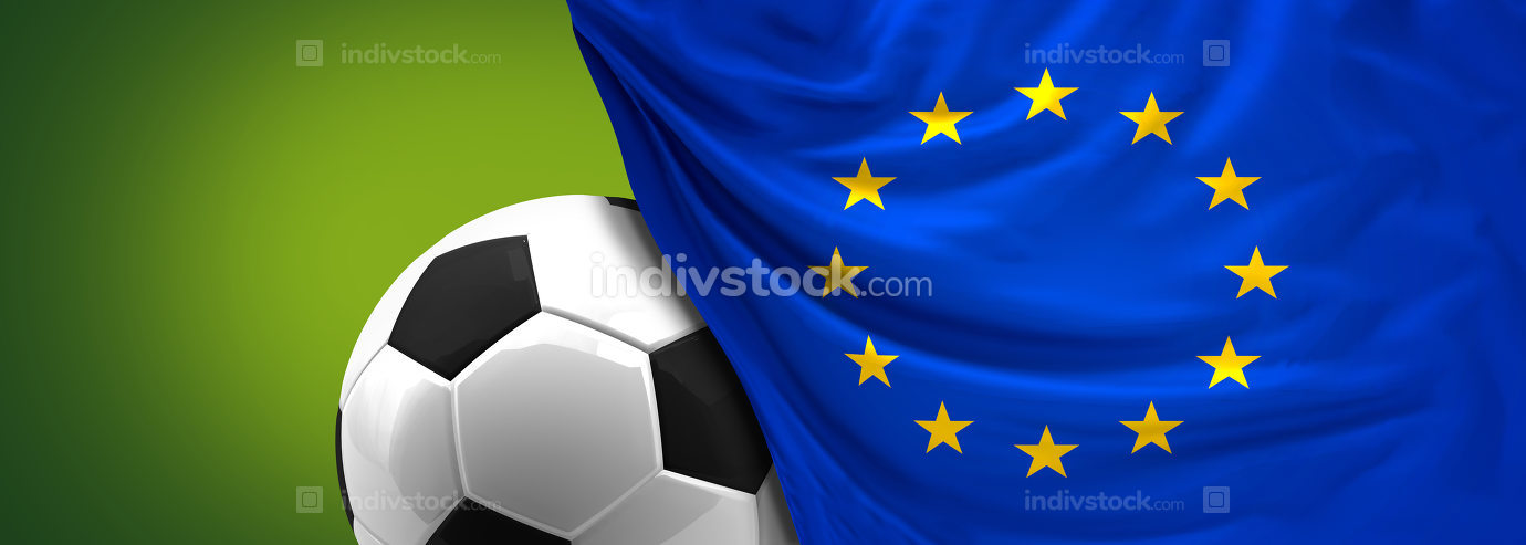 free download: soccer football ball behind flag of Europe EU 3d rendering