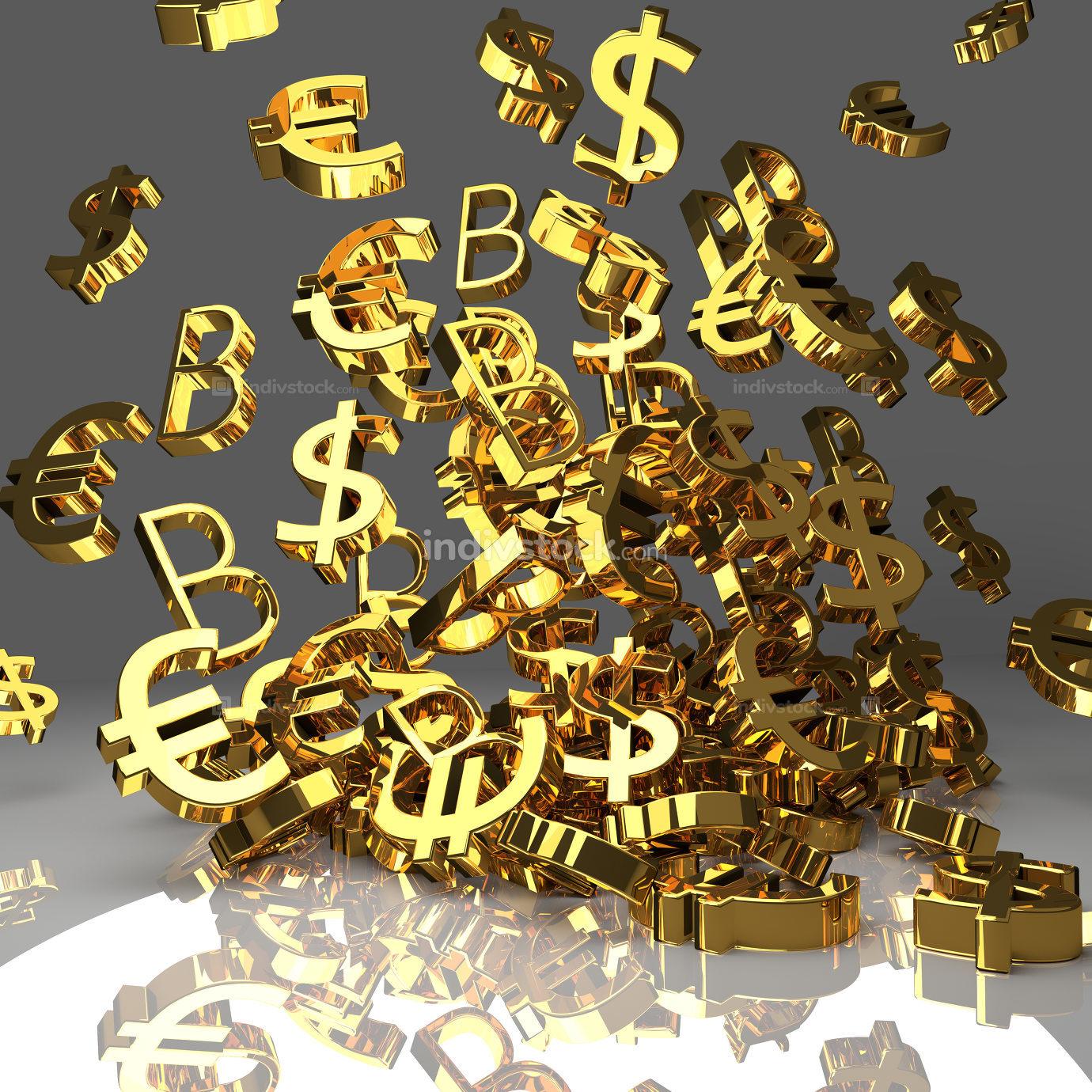golden Euro Dollar B Bitcoin falling pile 3d rendering