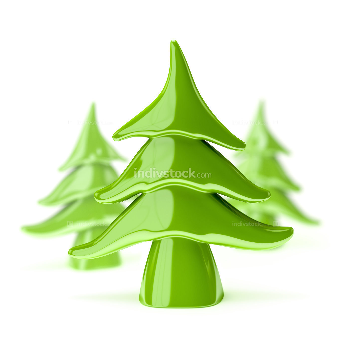 green pottery christmas tree 3d illustration