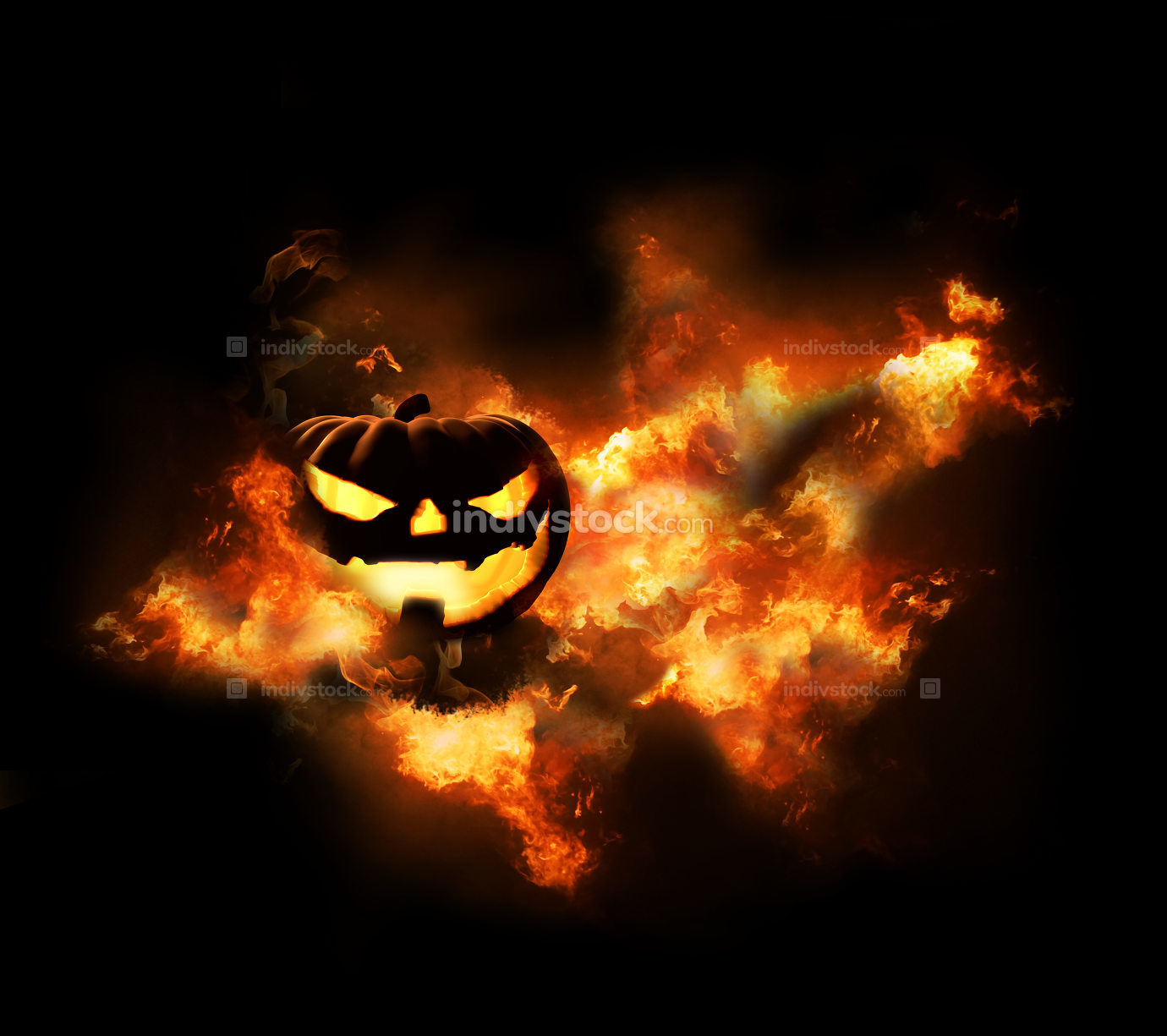 Halloween flames background 3d rendering