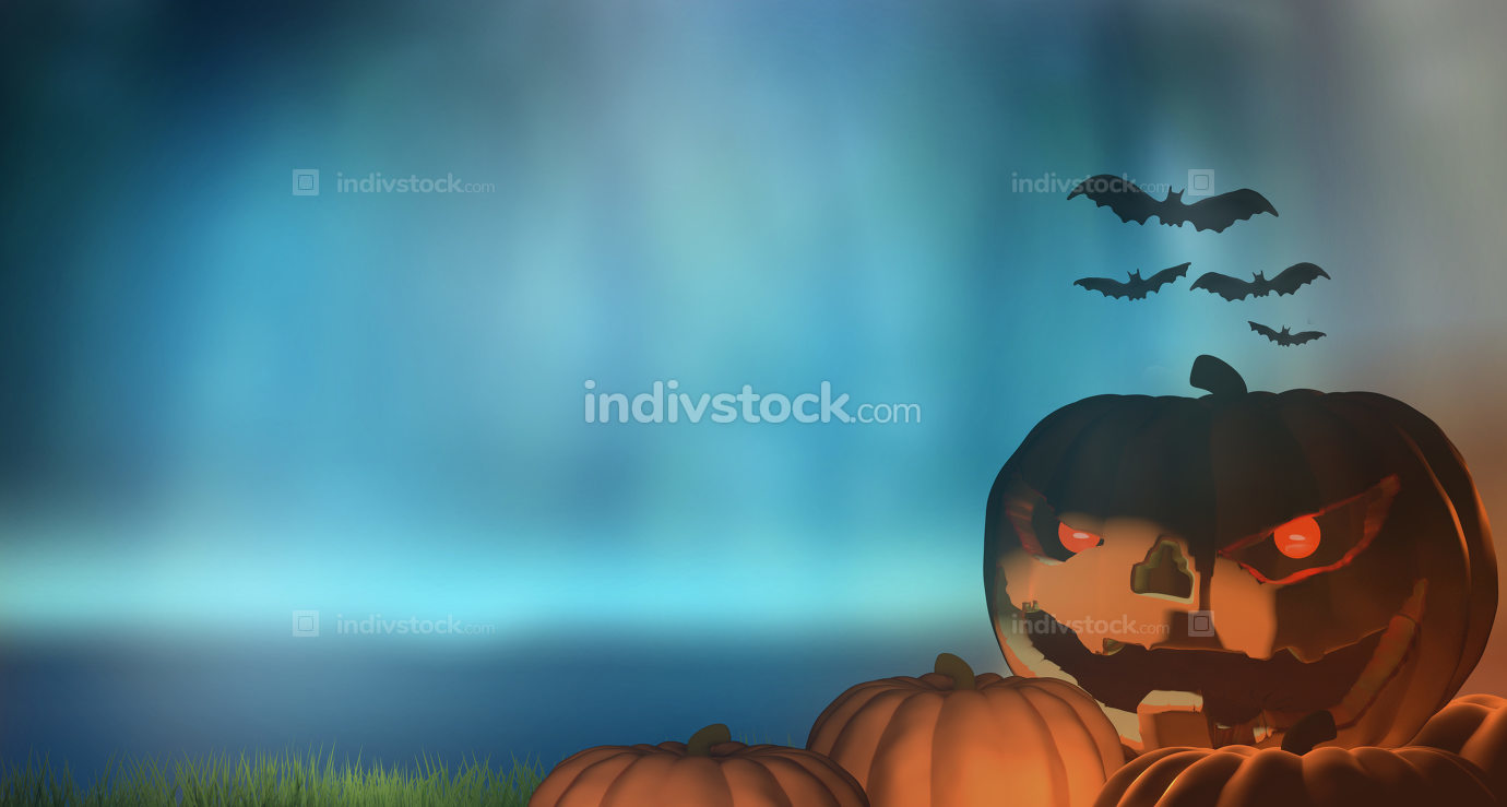 halloween pumpkin background 3d rendering