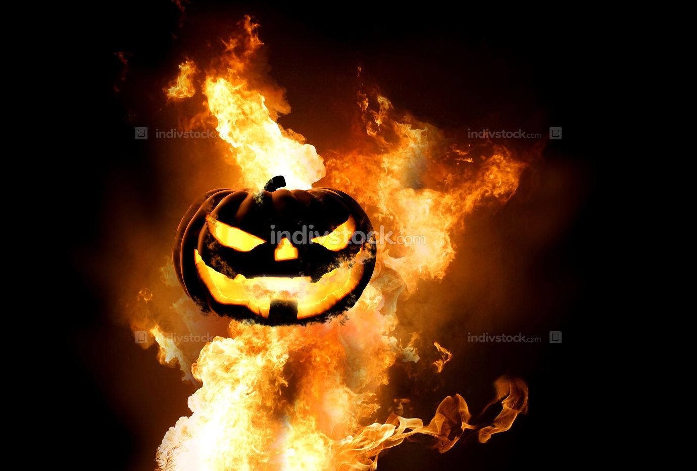 Halloween pumpkin fire flames 3d rendering