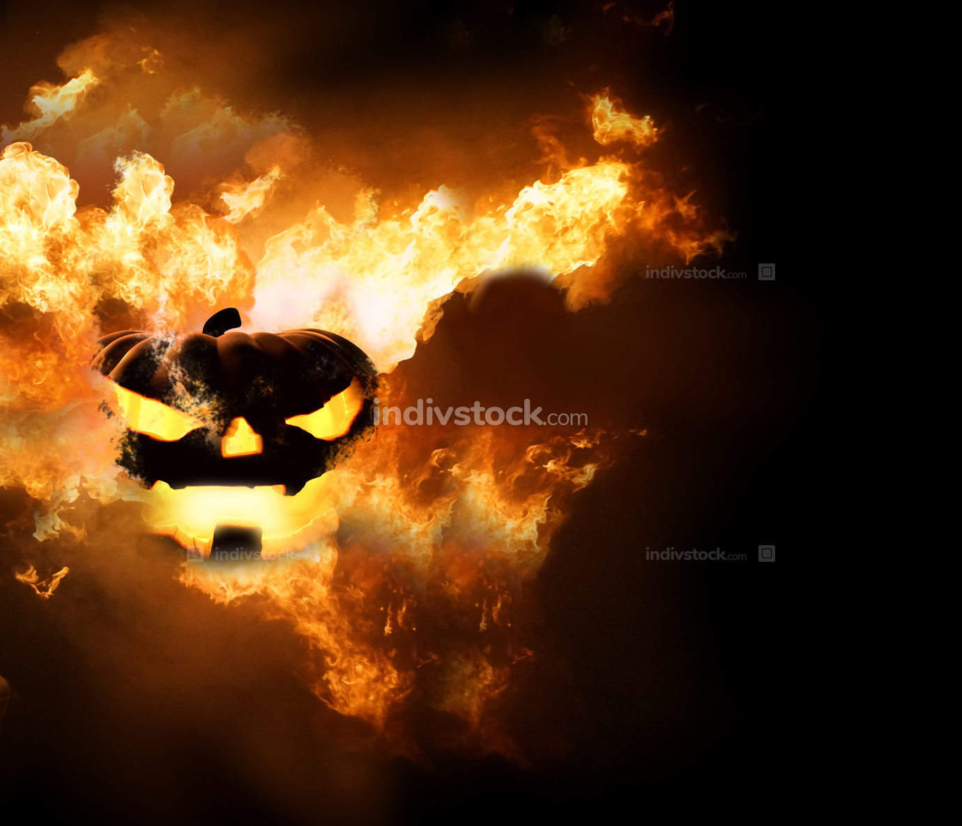 Halloween pumpkin hot fire 3d render