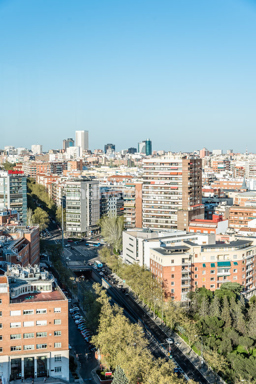 High angle view of Madrid from Faro of Moncloa