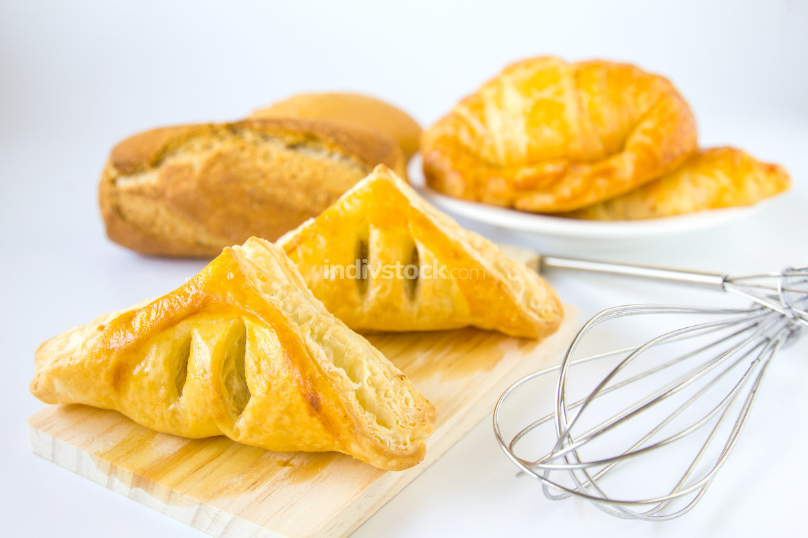 Homemade breads or bun on white background , breakfast food