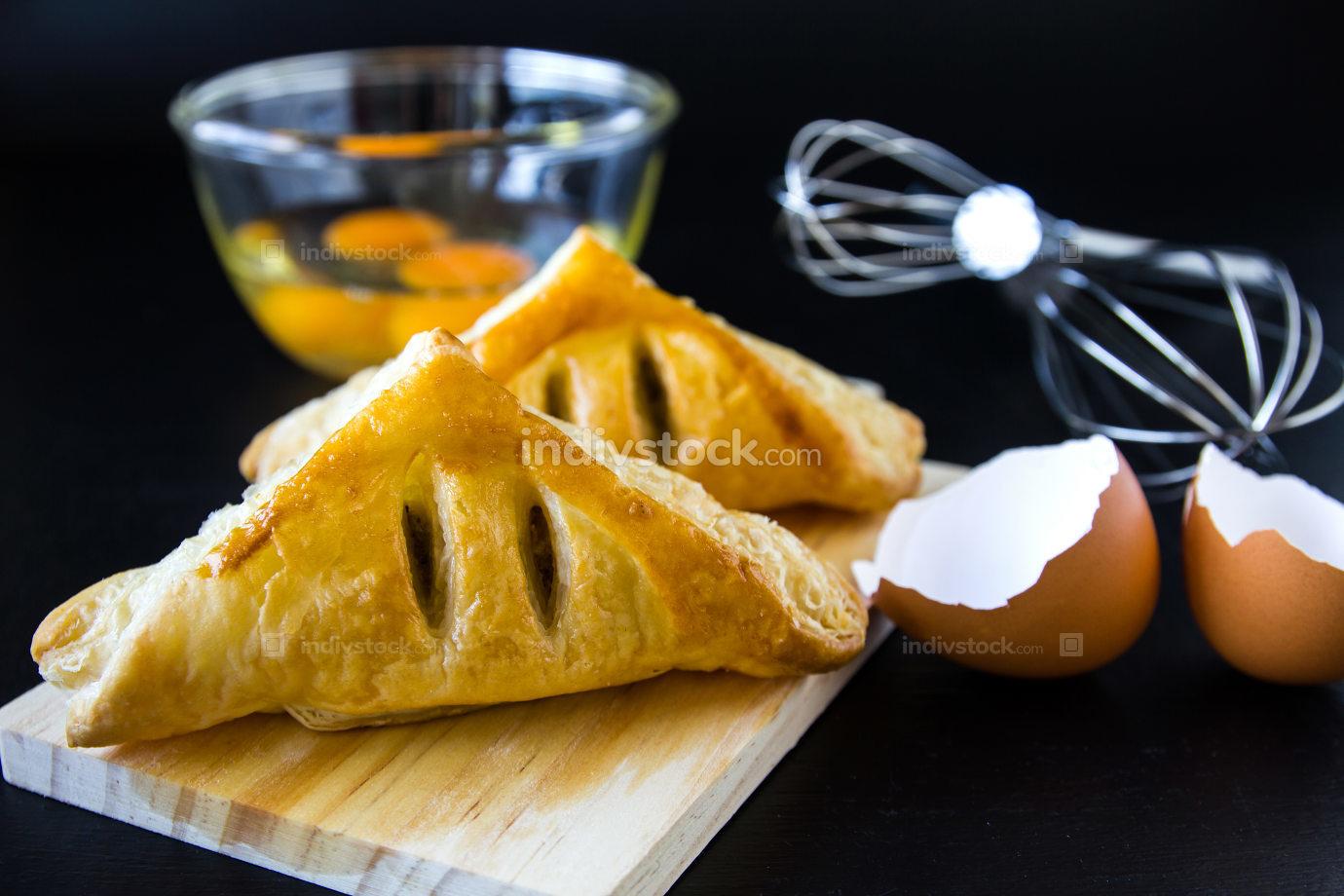 Homemade breads or bun on wood background,  breakfast food